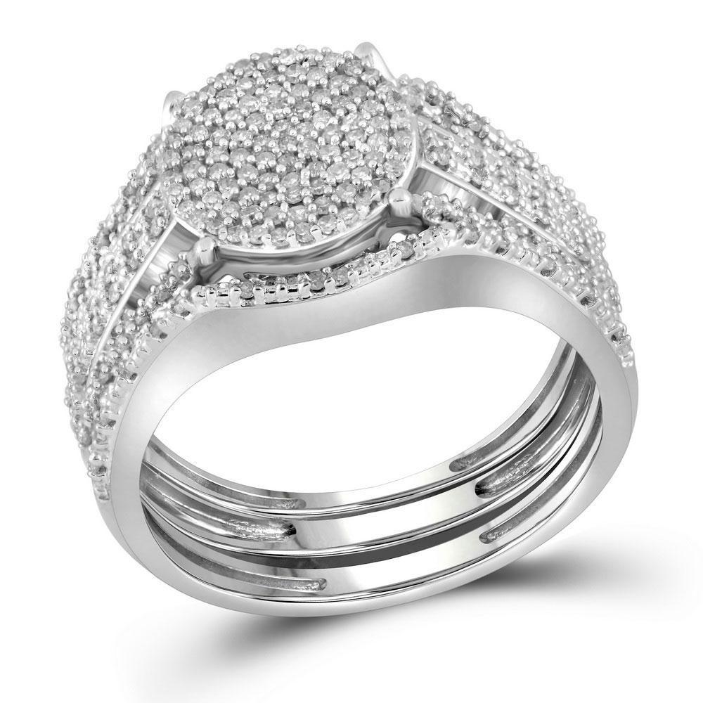 10k White Gold Diamond Cluster Bridal Wedding