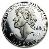 1993-S Jefferson 250th Ann. $1 Silver Commem Proof