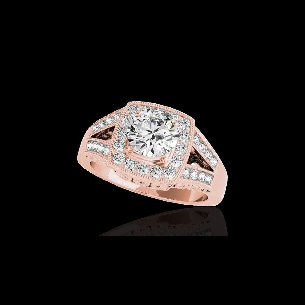 1.65 ctw Certified Diamond Solitaire Halo Ring 10K Rose