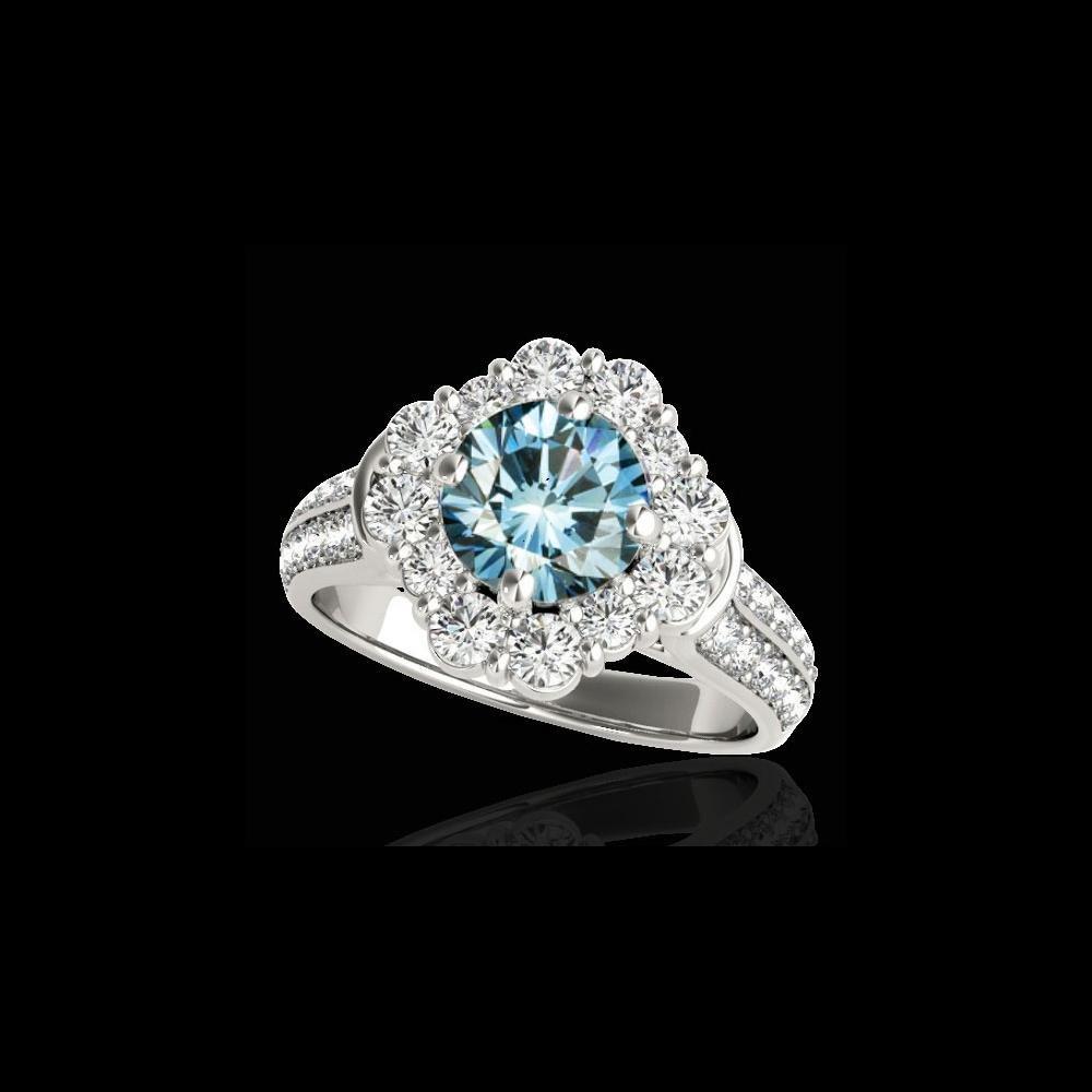 2.81 ctw SI Certified Fancy Blue Diamond Halo Ring 10K