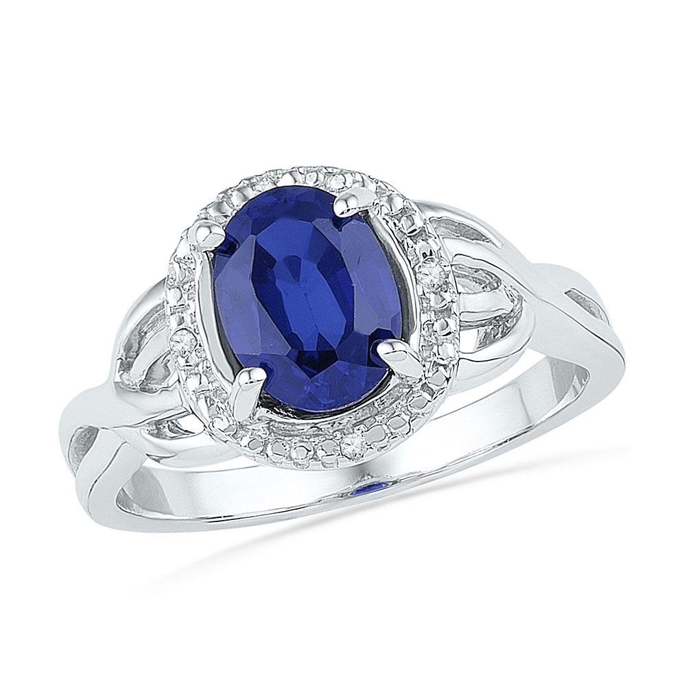 Sterling Silver Oval Lab-Created Blue Sapphire