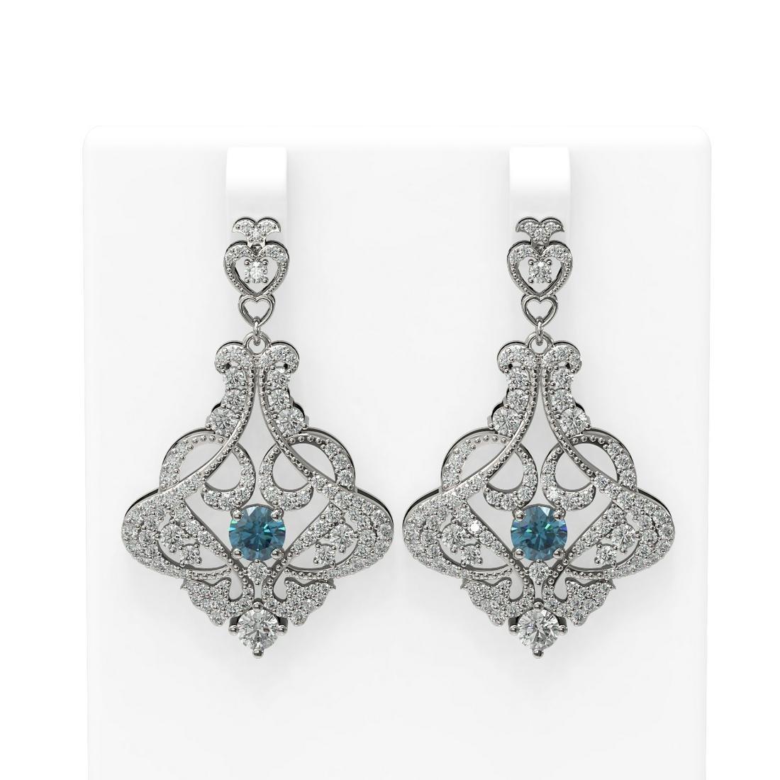5.13 ctw Intense Blue Diamond Earrings 18K White Gold