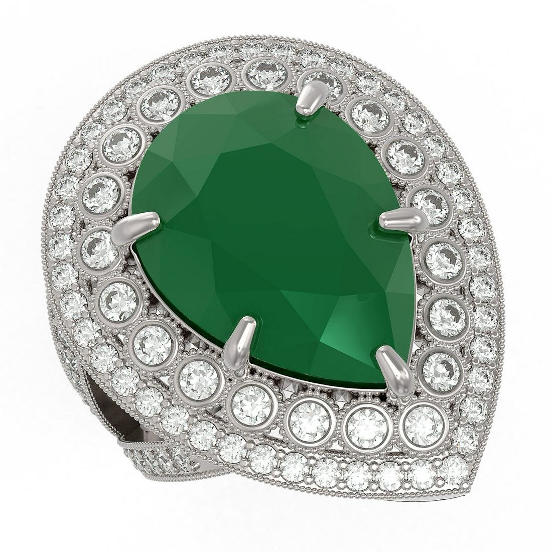 16.29 ctw Certified Emerald & Diamond Victorian Ring