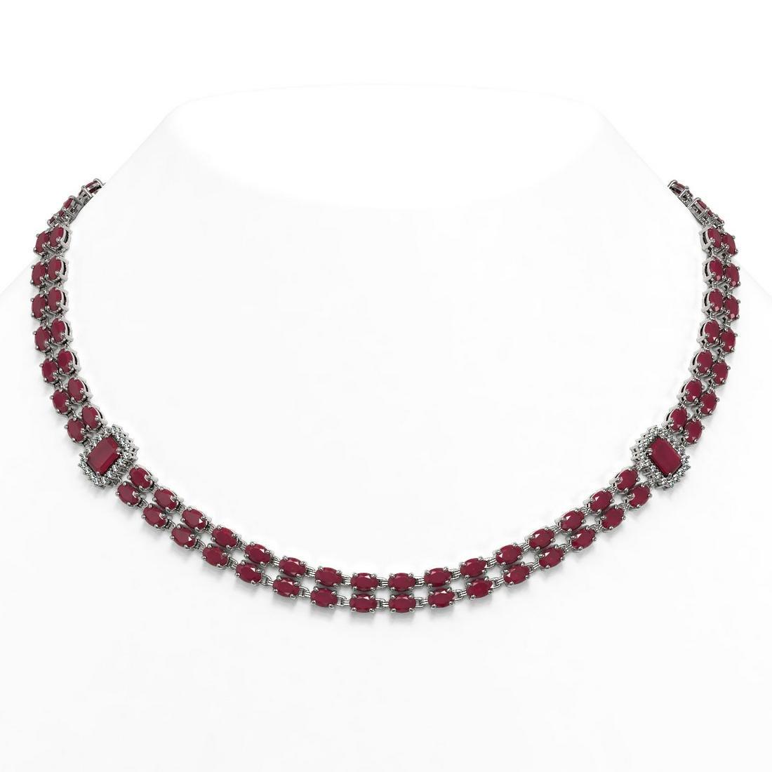 41.63 ctw Ruby & Diamond Necklace 14K White Gold