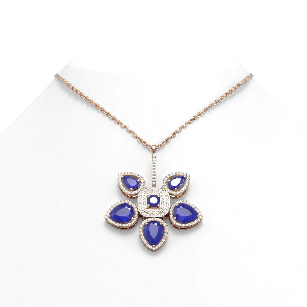 15.50 ctw Sapphire Diamond Necklace 18K Rose Gold