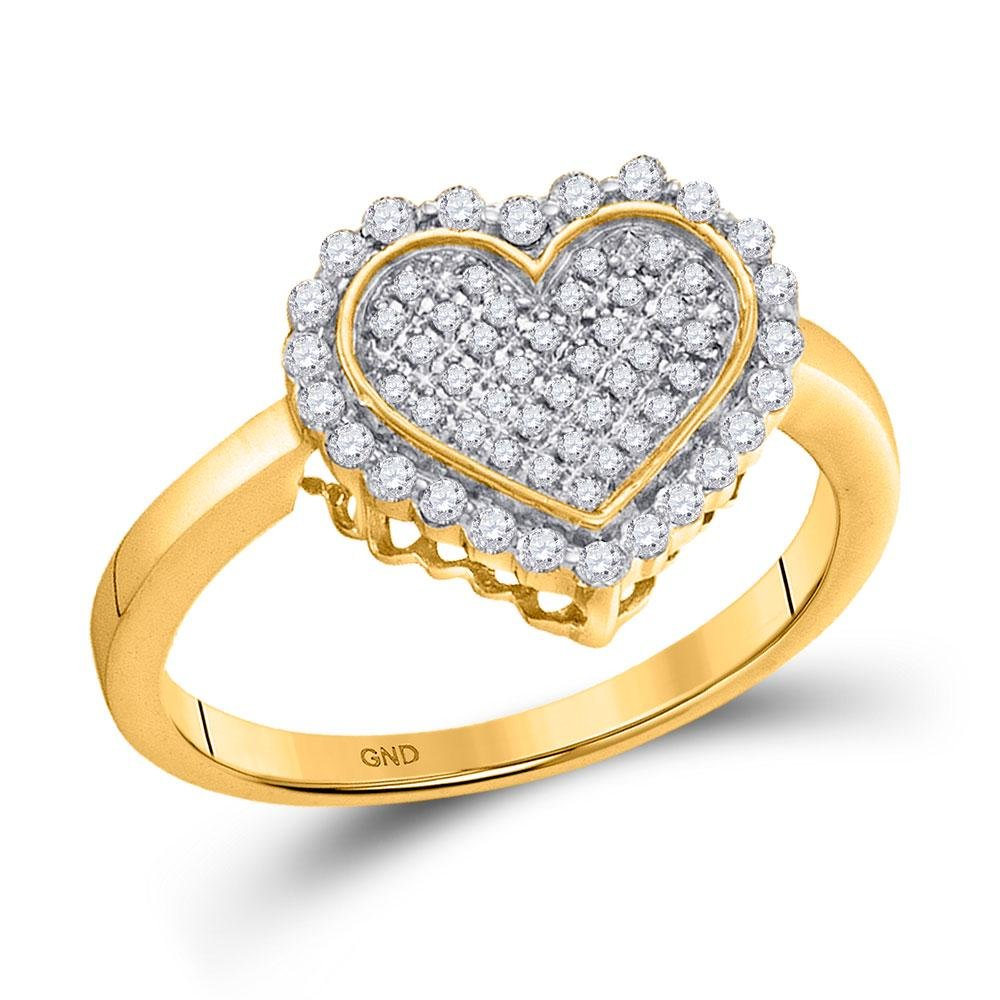 10kt Yellow Gold Round Diamond Heart Cluster Ring 1/3