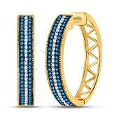 10kt Yellow Gold Round Blue Color Enhanced Diamond Hoop