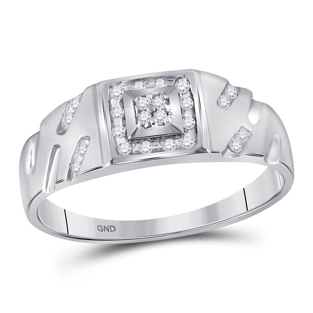 10kt White Gold Mens Round Diamond Square Cluster Ring