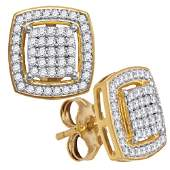 10kt Yellow Gold Round Diamond Square Frame Cluster