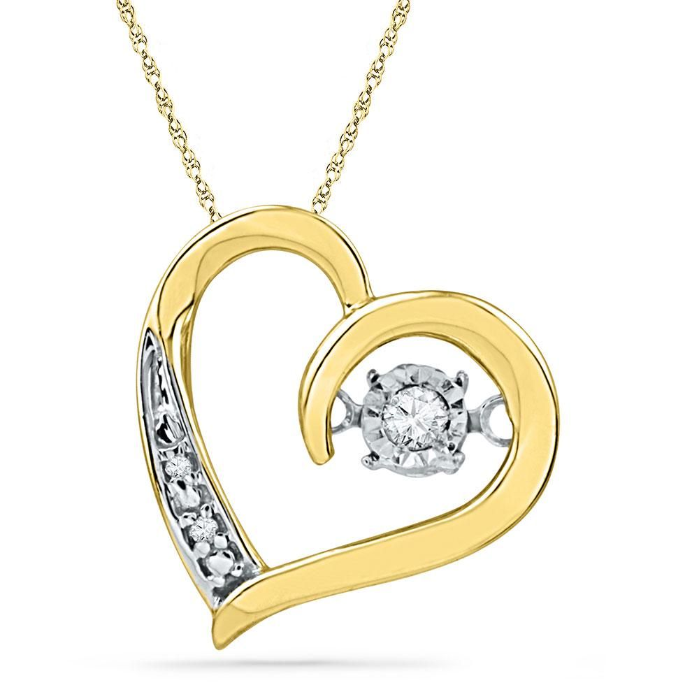 10kt Yellow Gold Round Diamond Heart Twinkle Moving