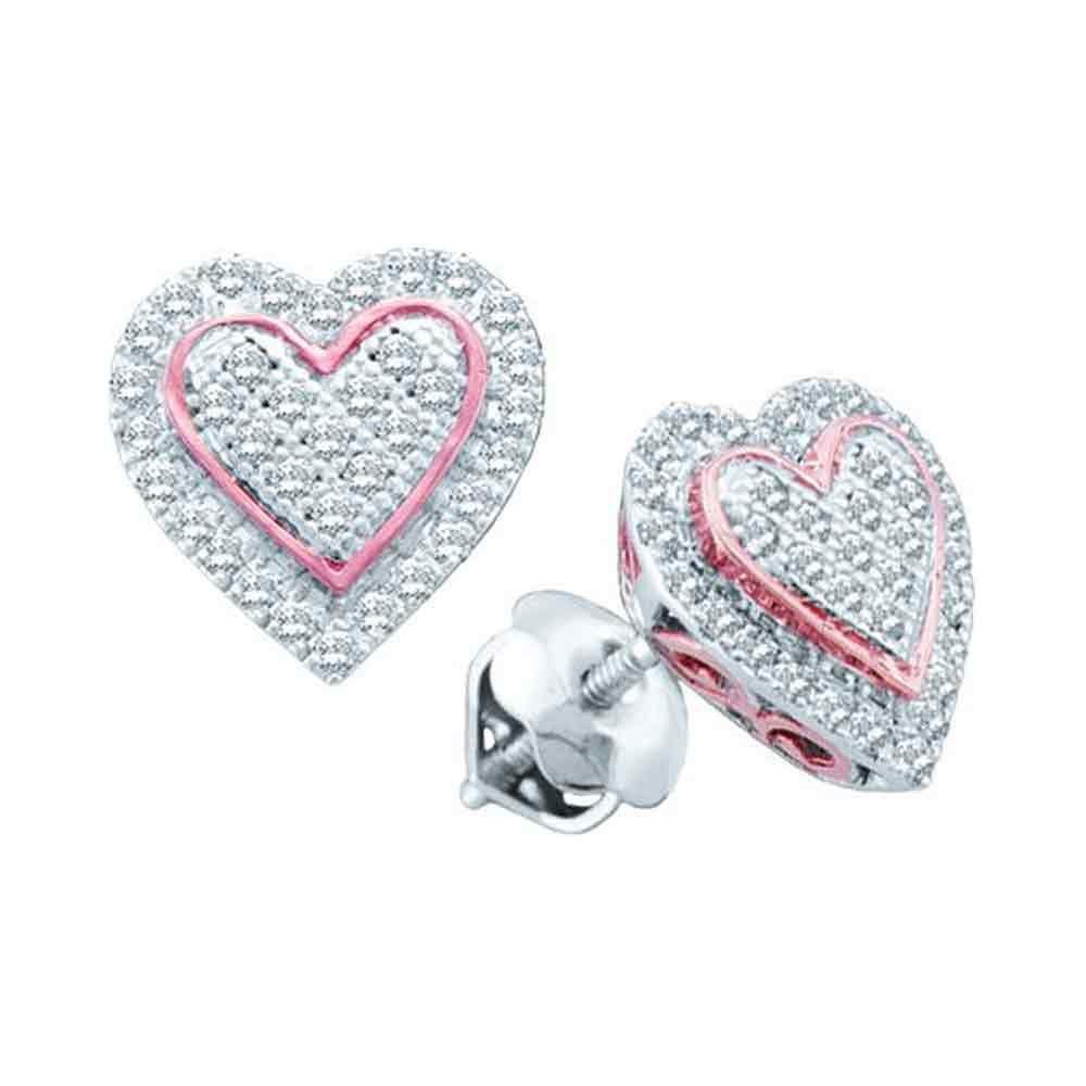 10kt White Gold Round Diamond Rose-tone Heart Cluster