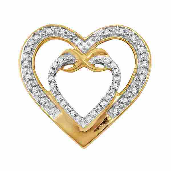 10kt Yellow Gold Round Diamond Nested Double Heart