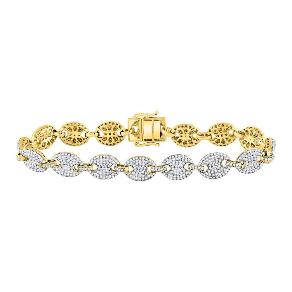 10kt Yellow Gold Mens Round Diamond Gucci Link Fashion