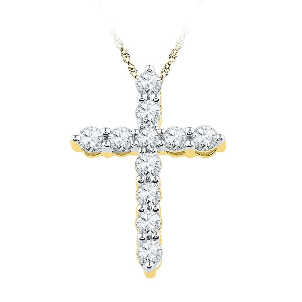 10kt Yellow Gold Womens Round Diamond Cross Religious