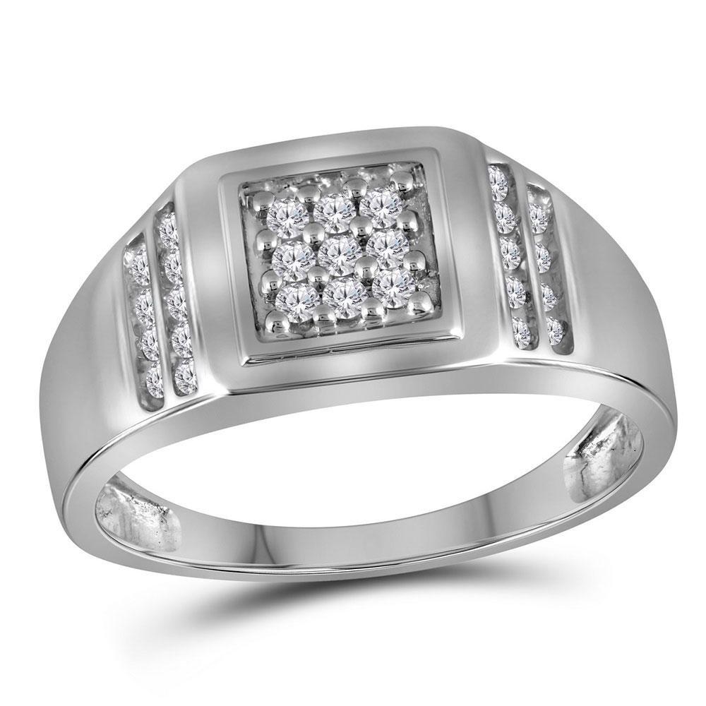10kt White Gold Mens Round Diamond Square Cluster Ring