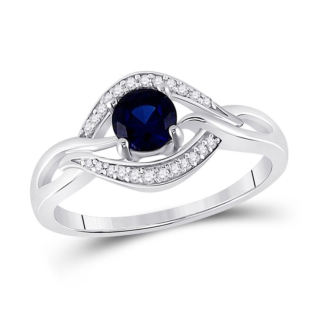Sterling Silver Womens Round Lab-Created Blue Sapphire