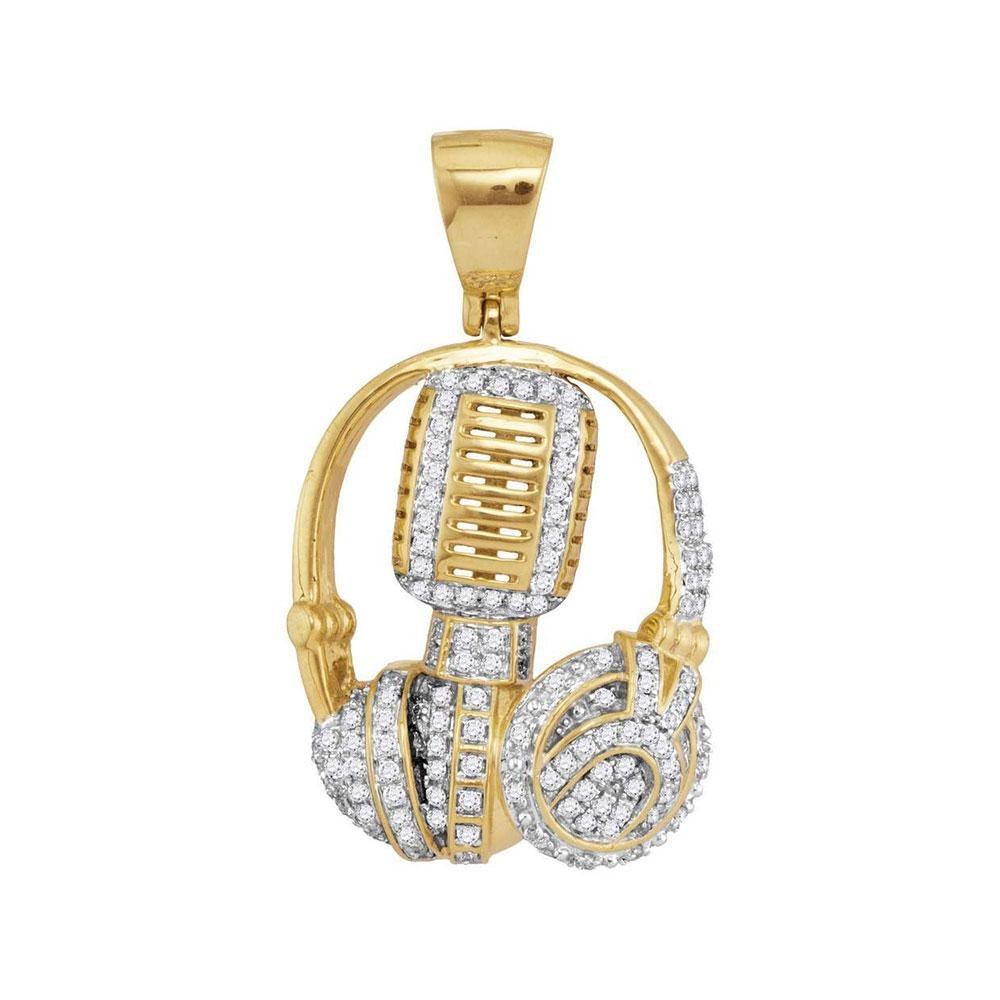 10kt Yellow Gold Mens Diamond Mic Headphone DJ Music