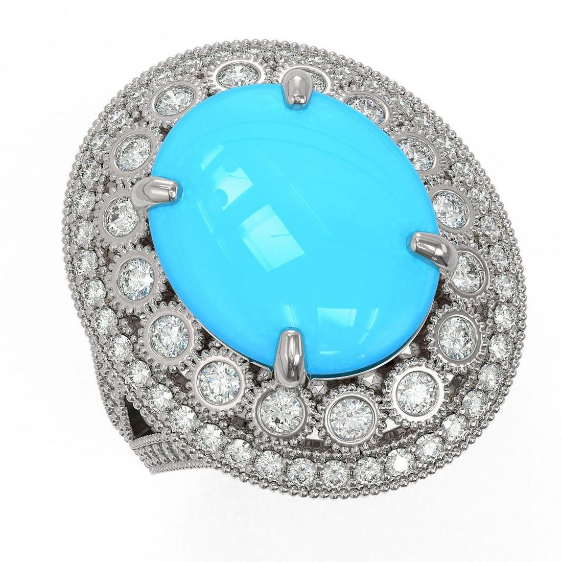 9.07 ctw Turquoise & Diamond Victorian Ring 14K White