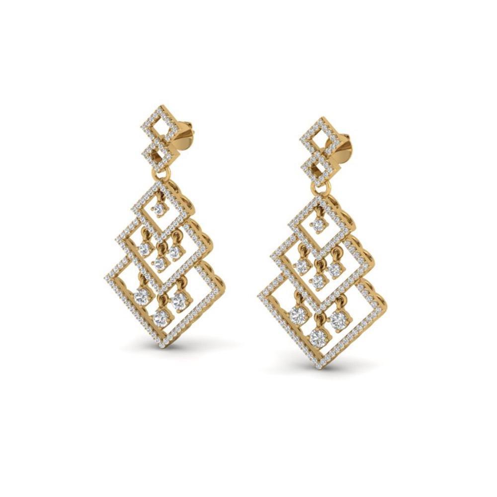 3 ctw Micro Pave VS/SI Diamond Earrings Dangling 14k