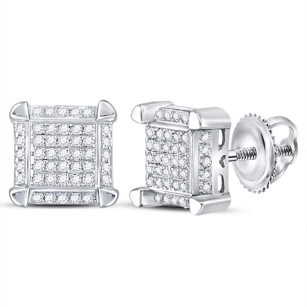 10kt White Gold Mens Round Diamond Square Cluster Stud