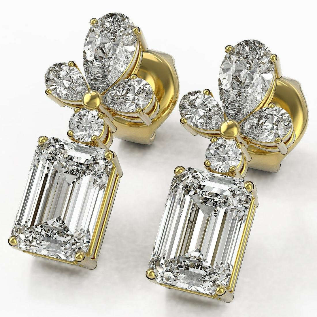 2.75 ctw Emerald Cut Diamond Designer Earrings 18K