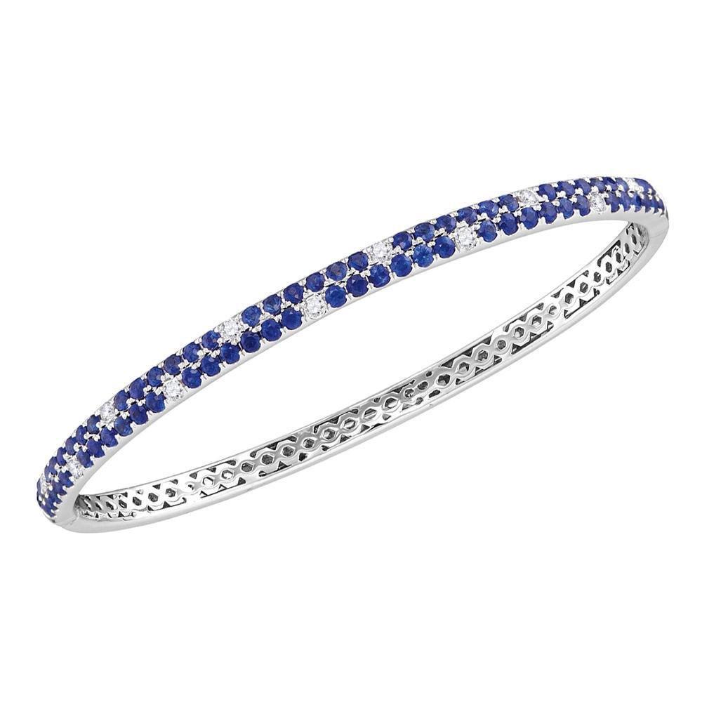 18kt White Gold Womens Round Blue Sapphire Diamond