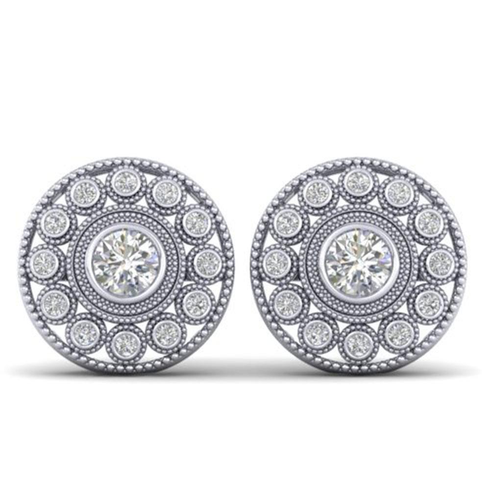 1.11 ctw VS/SI Diamond Art Deco Stud Earrings 14k White