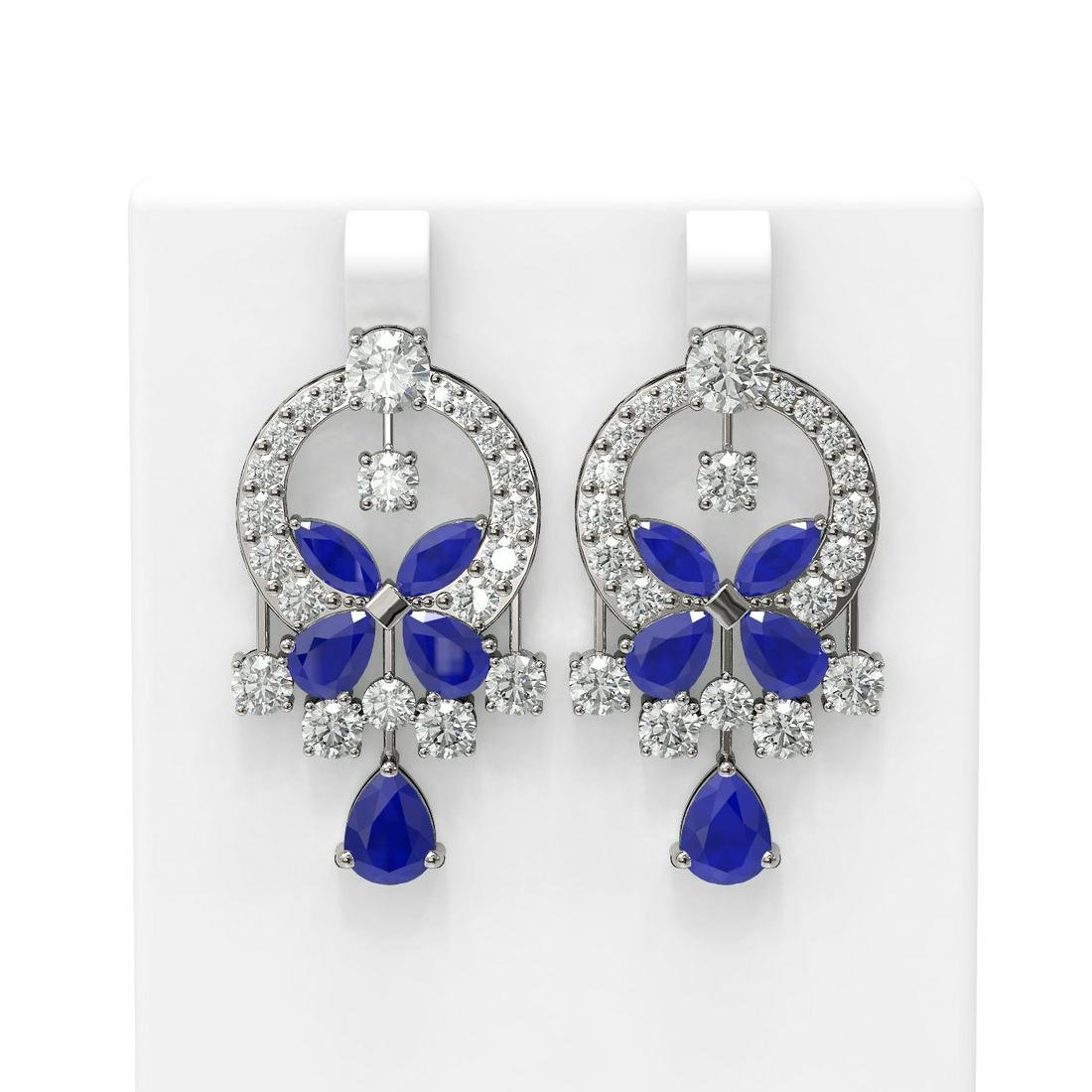 17.33 ctw Sapphire & Diamond Earrings 18K White Gold