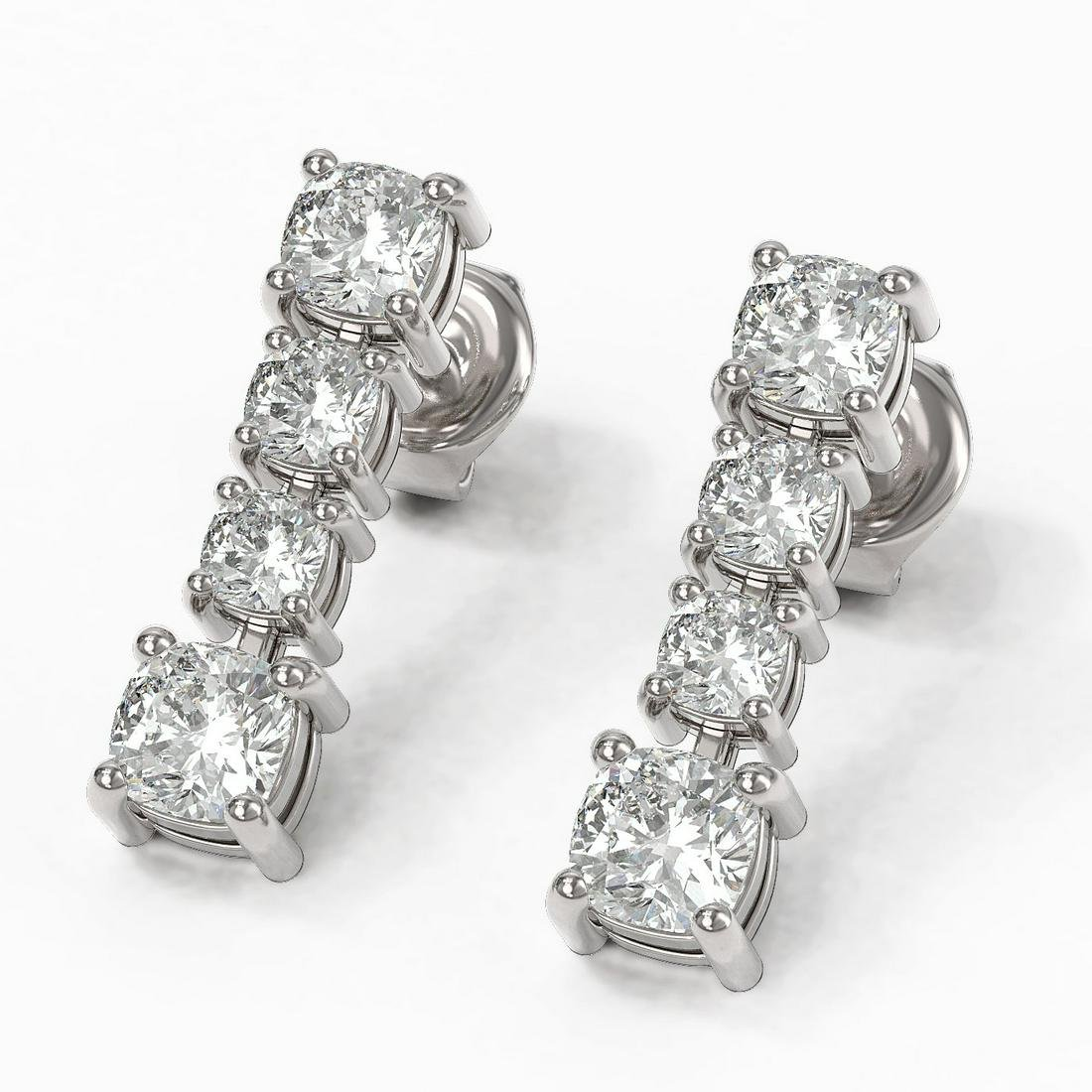 3.78 ctw Cushion Diamond Earrings 18K White Gold
