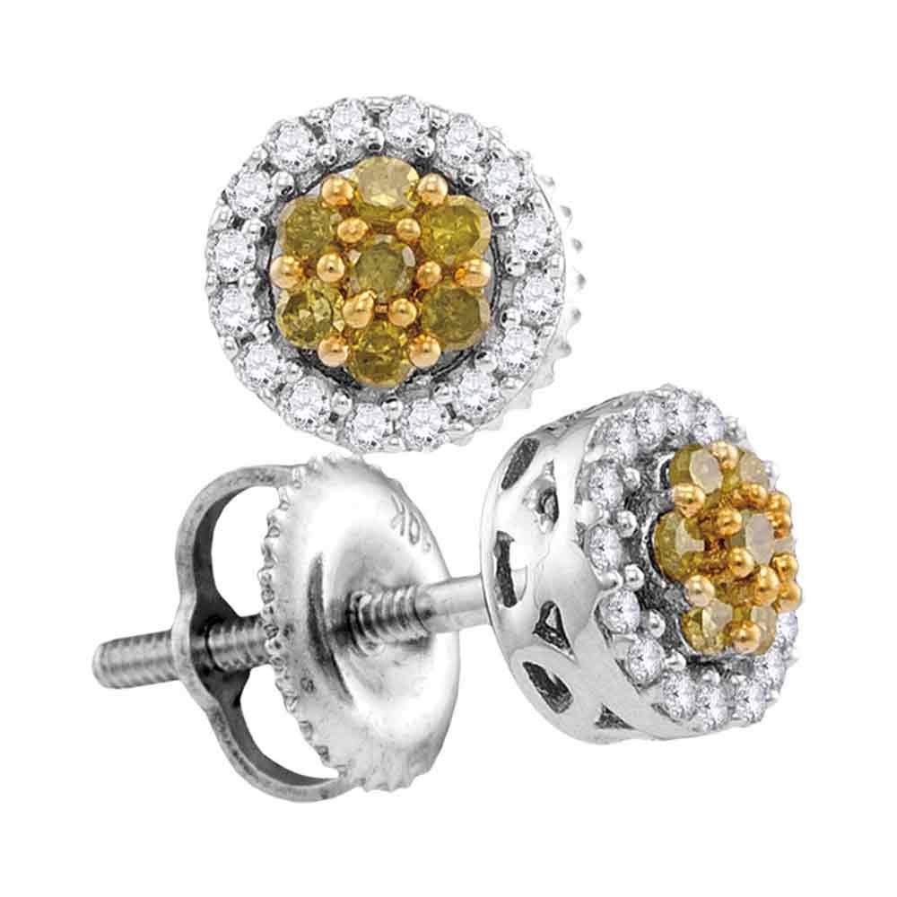 10kt White Gold Womens Round Yellow Color Enhanced