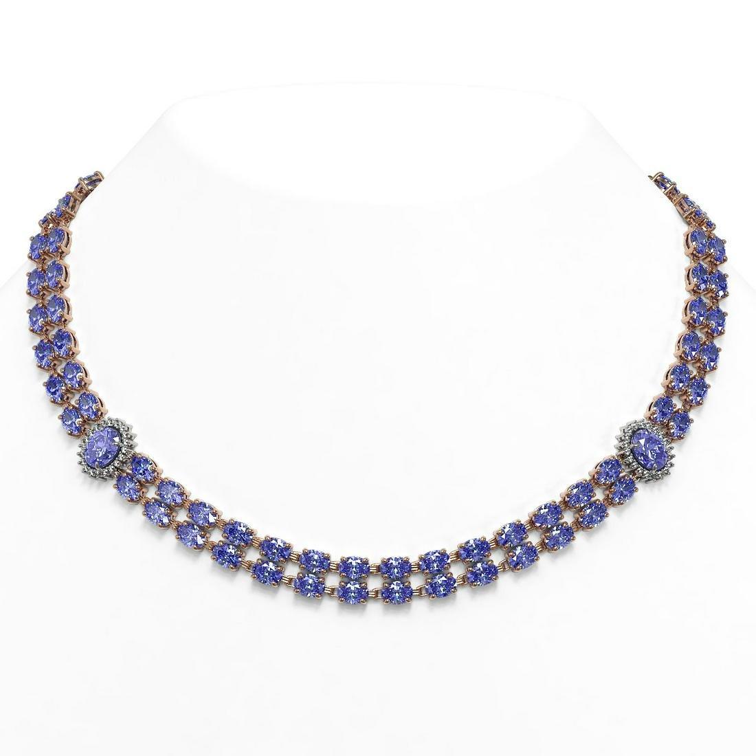 62.77 ctw Tanzanite & Diamond Necklace 14K Rose Gold