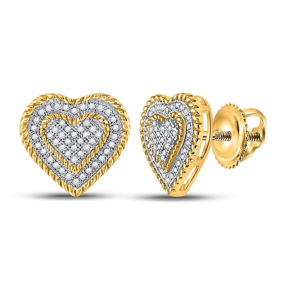 10kt Yellow Gold Womens Round Diamond Roped Heart