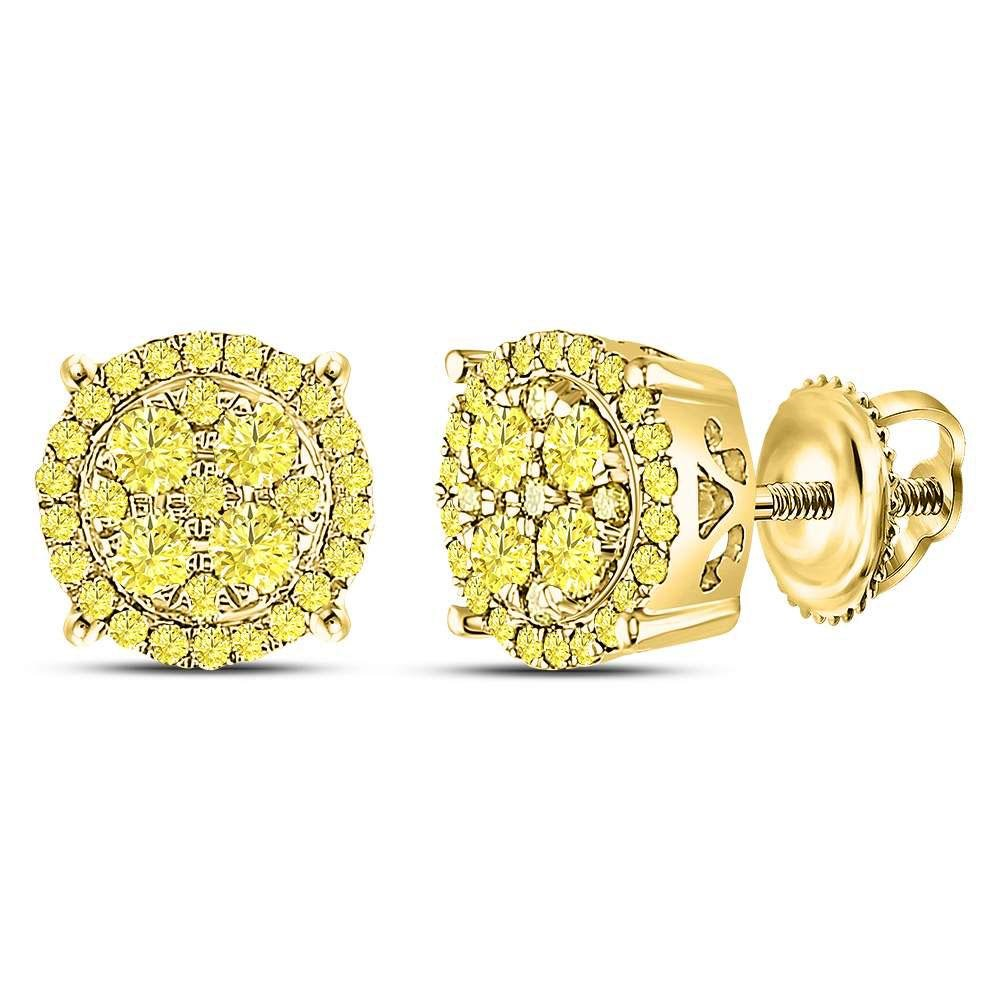 10kt Yellow Gold Womens Round Canary Diamond Concentric