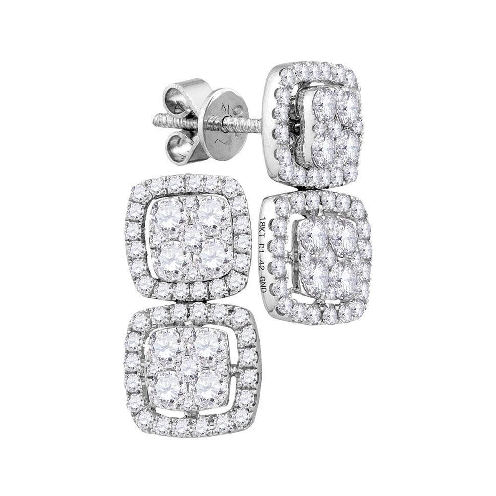 18kt White Gold Womens Round Diamond Convertible Square
