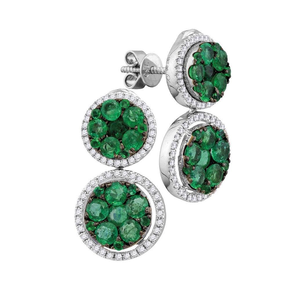 18kt White Gold Womens Round Emerald Diamond Dangle