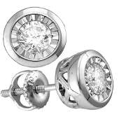 10kt White Gold Womens Round Diamond Solitaire Stud