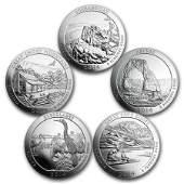 2014 5Coin 5 oz Silver ATB Set America the Beautiful