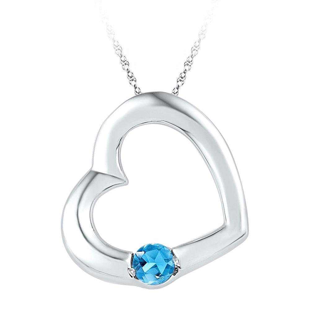Sterling Silver Womens Round Lab-Created Blue Topaz