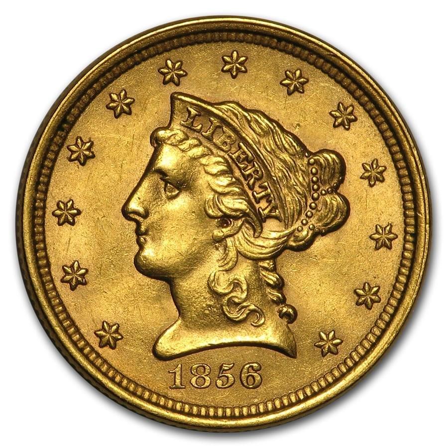 1856 $2.50 Liberty Gold Quarter Eagle AU Details