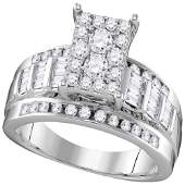 10kt White Gold Womens Round Diamond Cluster Bridal