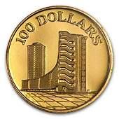 1975 Singapore 15 oz Gold 100 10th Anniv of