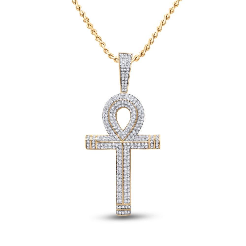 10kt Yellow Gold Mens Round Diamond Ankh Cross Charm