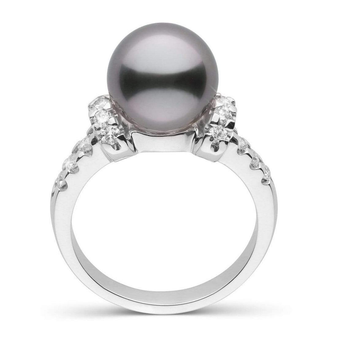 Black Tahitian Pearl and Diamond Bloom Cocktail Ring,