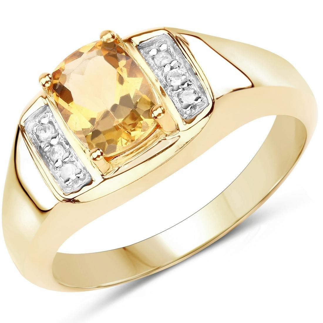 14K Yellow Gold Plated 1.36 Carat Genuine Citrine &