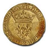 France Gold Ecu d'Or Charles VI (1380-1422 AD) MS-64