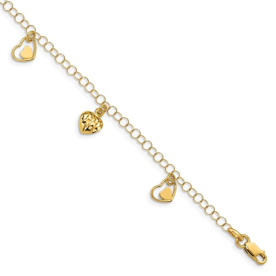 14k Yellow Gold Polished & D/C Hearts Bracelet - 7 in.