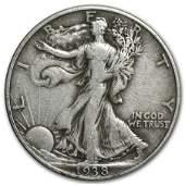 1938D Walking Liberty Half Dollar VF