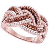 10kt Rose Gold Womens Round Brown Diamond Braid Fashion