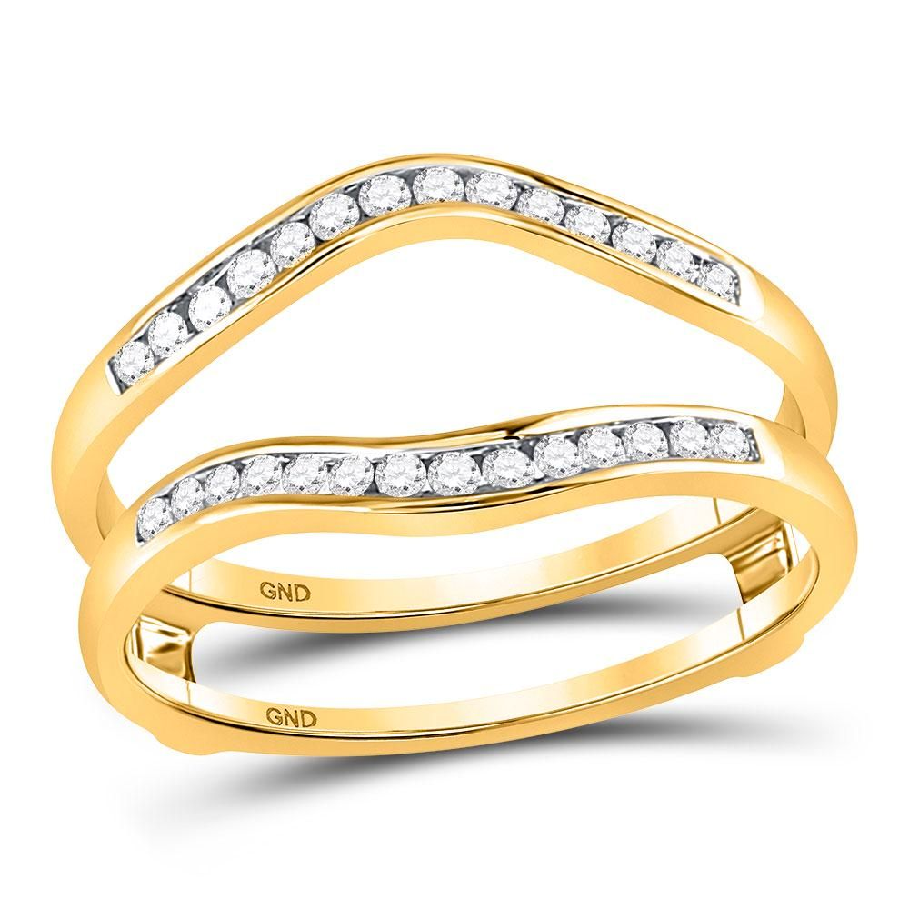 14kt Yellow Gold Womens Round Diamond Channel Set Wrap