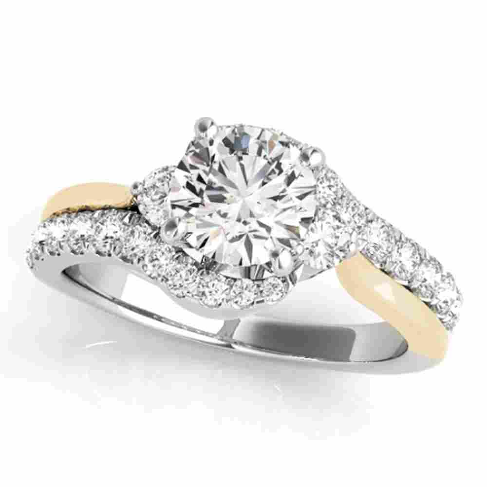 Natural 1.1 ctw Diamond Bypass SolitaireRing 14k 2Tone